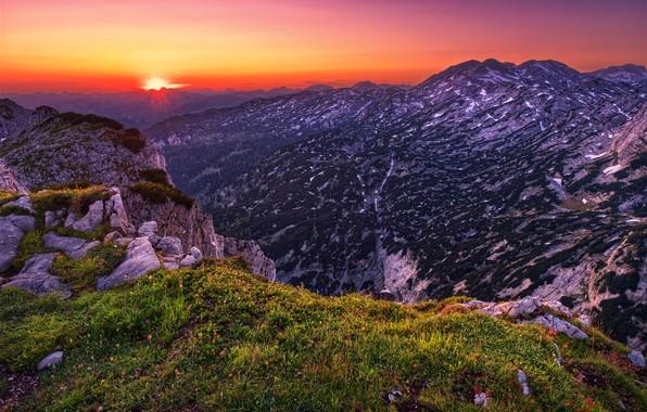 Картинка Sunset, mountains, Austria, Traweng
