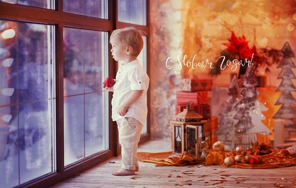 Картинка игрушки, ребенок, мальчик, маленький, окно, Новый год