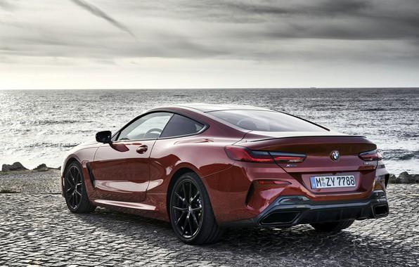 Картинка берег, купе, BMW, сзади, Coupe, 2018, 8-Series, тёмно-оранжевый, M850i xDrive, 8er, G15