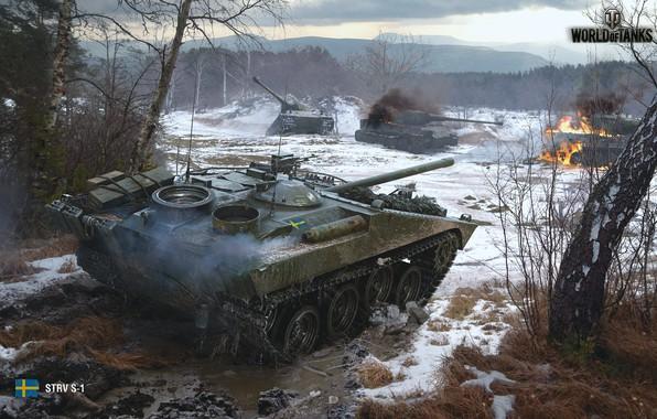 Картинка лес, игра, бой, битва, game, forest, танки, fight, bitch, battle, wot, самоходка, tanks, орудие, Мир …