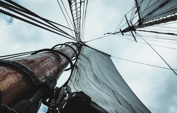 Картинка небо, корабль, парус, мачта, Sylas Boesten