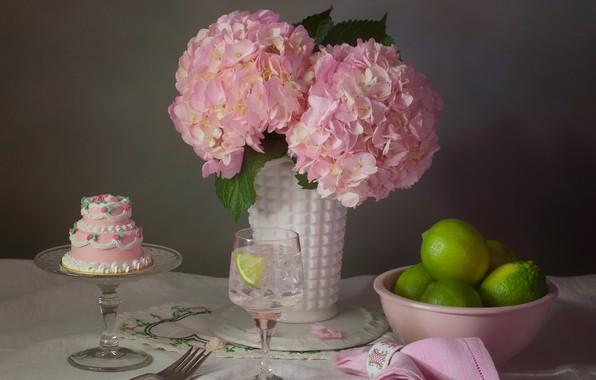 Картинка цветы, стиль, розовая, бокал, лайм, пирожное, натюрморт, тортик, салфетка, гортензия