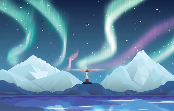 Картинка звезды, горы, ночь, маяк, северное сияние, abstract, star, design, night, northern lights