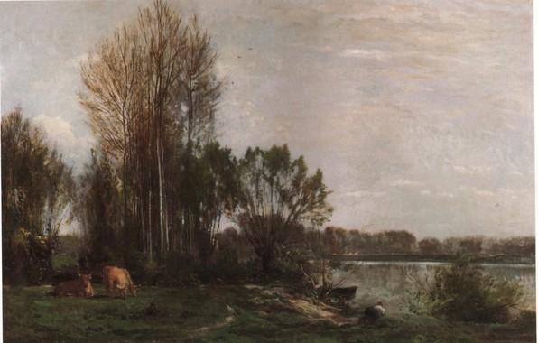 Картинка пейзаж, 1864, На берегу реки, Добиньи Шарль-Франсуа