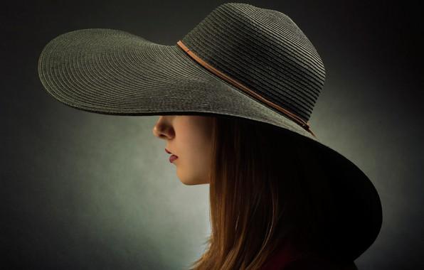 Картинка девушка, шляпа, профиль