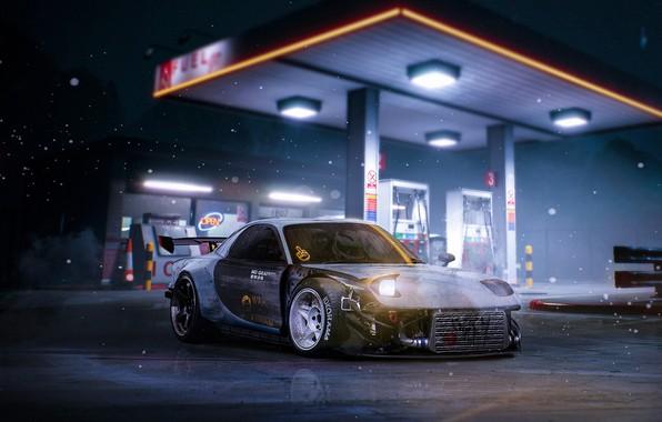 Картинка Авто, Ночь, Машина, Japan, Mazda, Car, Art, Design, Night, RX-7, Mazda RX-7, АЗС, Transport & ...