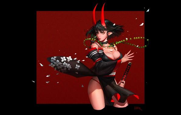 Картинка red, girl, sword, fantasy, black, cleavage, horns, minimalism, weapon, breast, square, katana, samurai, artwork, warrior, …