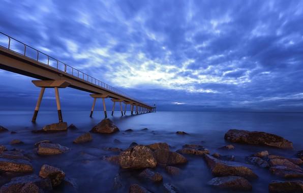 Картинка небо, мост, побережье