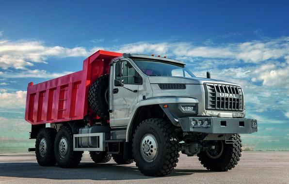 Картинка грузовик, кузов, Урал, 6x6, самосвал, трёхосный, капотный, URAL
