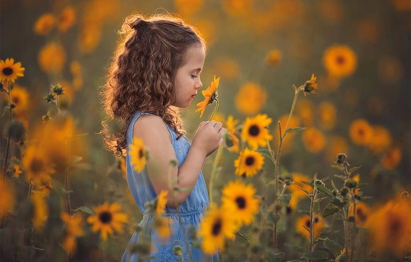 Картинка цветы, Поле, девочка