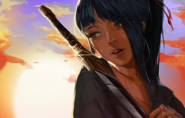 Картинка girl, sword, fantasy, sky, weapon, sunset, blue eyes, clouds, ponytail, katana, mood, sadness, tears, digital …