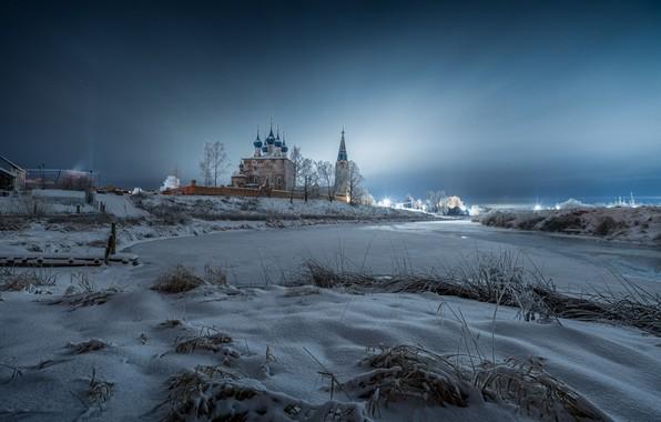 Картинка зима, снег, пейзаж, природа, река, рассвет, село, утро, собор, Дунилово, Виталий Левыкин, Теза