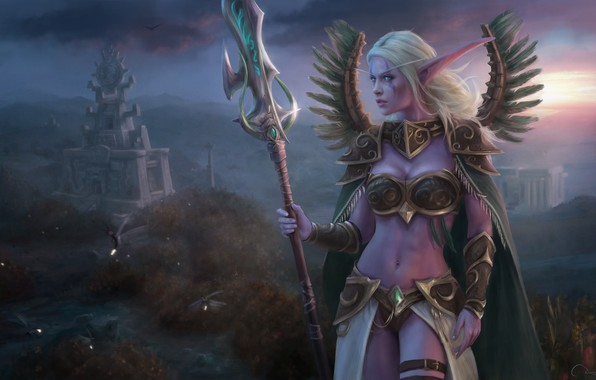 Картинка девушка, эльф, World of Warcraft, Warcraft, Night Elf, Lexith