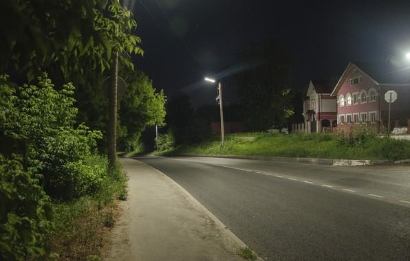 Картинка дорога, свет, ночь, город, темный фон, фонарь