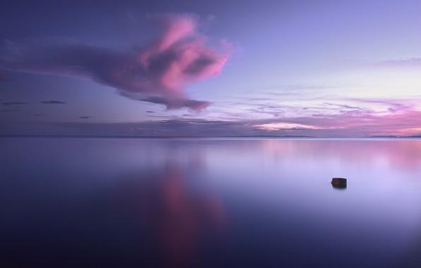 Картинка небо, вода, облака, озеро, гладь, утро