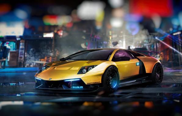 Обои Lambo, Future, Transport & Vehicles, Aventador, Золото, Illustration, Cyberpunk, Sci-fi, NFS, Lamborghini Aventador, Желтый, Город, ...