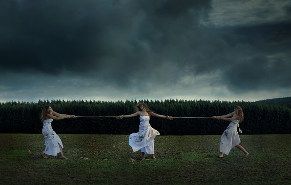 Картинка Nature, Clouds, Grass, Dirt, Girls, Mood, Forest, Trees, Dress, Rope, Situation, Moods, Dead leaves, Dark …