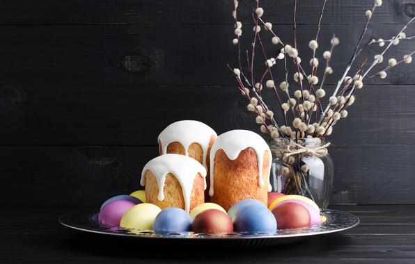 Картинка праздник, яйца, пасха, кулич, верба