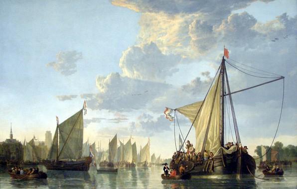 Картинка картина, морской пейзаж, Альберт Кёйп, Маас в Дордрехте, Aelbert Cuyp