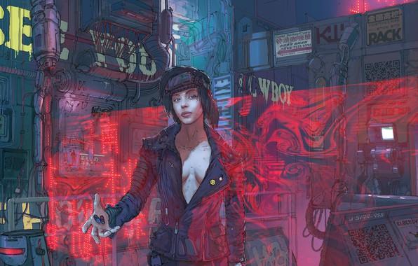 Картинка Девушка, Рисунок, Art, Механизмы, Klaus, Cyber, Cyberpunk, Klaus Wittmann, Wittmann, Пилюли