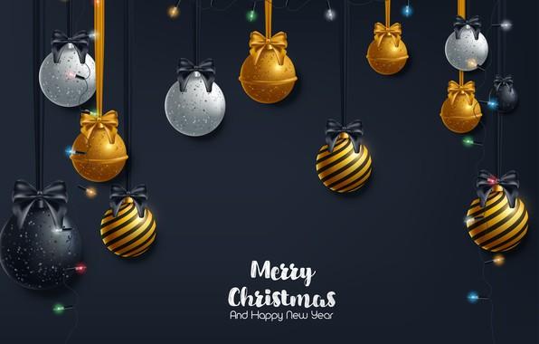 Картинка украшения, золото, шары, Новый Год, Рождество, golden, черный фон, Christmas, balls, background, New Year, decoration, …