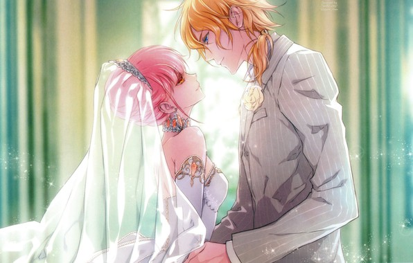 Картинка декольте, диадема, фата, свадьба, wand of fortune, lulu, visual novel, почти поцелуй, жених и невеста, …