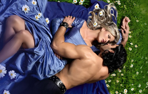 Картинка грудь, лето, взгляд, девушка, любовь, цветы, поза, настроение, сила, ноги, романтика, поляна, нежность, ромашки, поцелуй, …