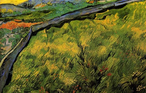 Картинка дорога, солнце, Винсент ван Гог, Field of Spring, Wheat at Sunrise