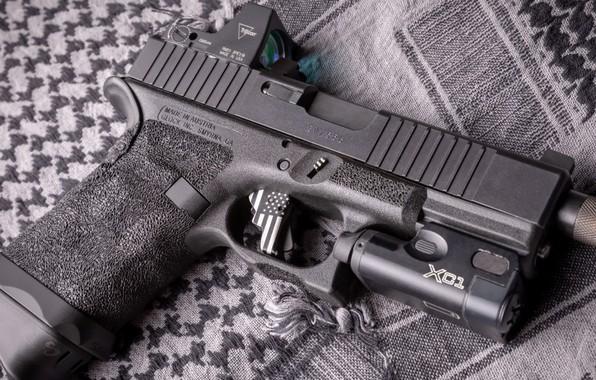 Картинка пистолет, оружие, gun, pistol, weapon, Глок, Glock, кастом, custom