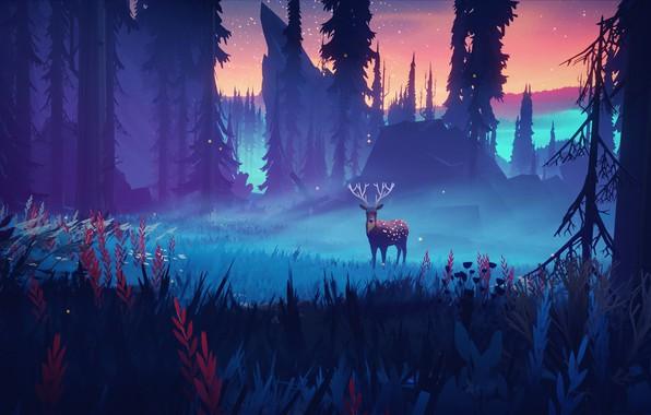Картинка grass, horns, sky, trees, nature, night, art, stars, animal, digital art, artwork, deer, Forest, tilight