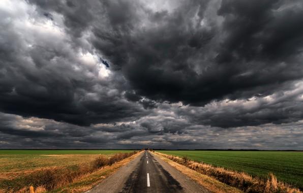 Картинка дорога, поле, тучи