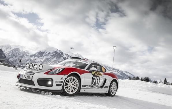 Картинка машина, свет, снег, горы, фары, спорткар, ралли, Porsche Cayman GT4 rally