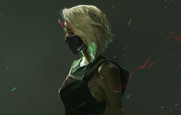 Картинка фон, маска, арт, профиль, art, cyberpunk