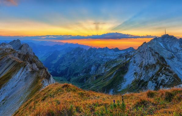 Картинка небо, закат, горы, высота, Альпы