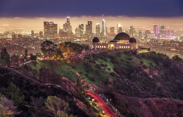 Картинка дорога, ночь, город, парк, здания, дома, освещение, США, Лос-Анджелес, Griffith Park, Гриффит парк