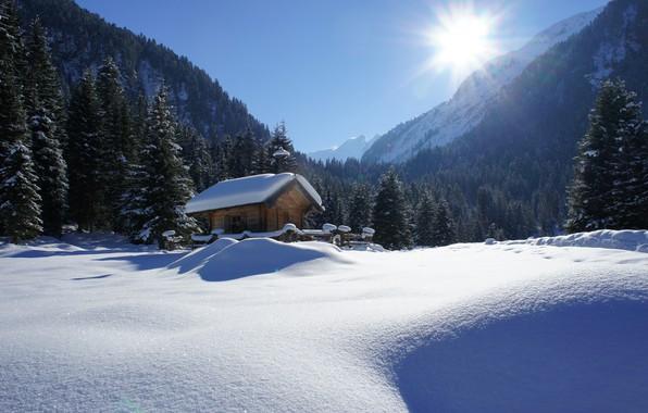 Картинка зима, солнце, лучи, снег, деревья, пейзаж, горы, природа, дом, ели, Альпы, хижина, леса