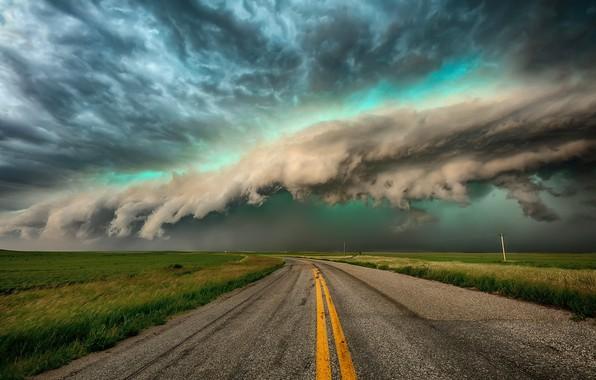 Картинка дорога, поле, небо, облака, тучи, шторм