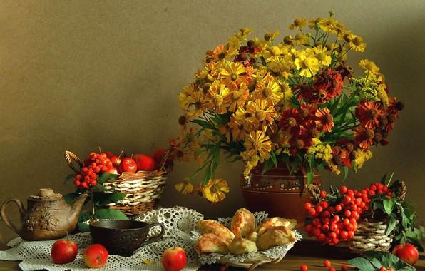 Картинка фон, букет, фрукты, натюрморт