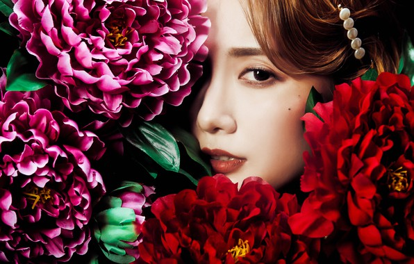 Картинка взгляд, девушка, цветы, лицо, азиатка