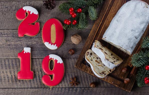 Картинка украшения, Новый Год, Рождество, happy, Christmas, cake, wood, New Year, кекс, cookies, decoration, пряники, gingerbread, …