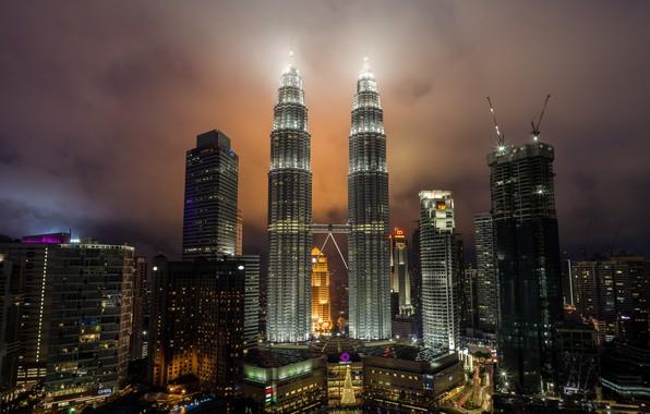 Картинка ночь, город, башни, Малайзия, Куала-Лумпур