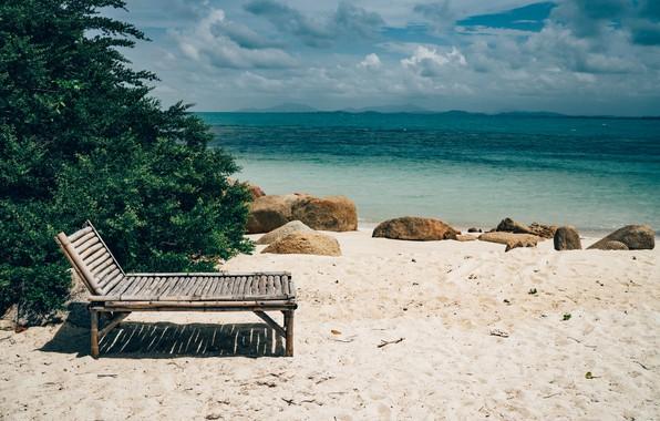 Картинка песок, море, волны, пляж, лето, небо, шезлонг, summer, beach, sea, blue, seascape, sand, wave