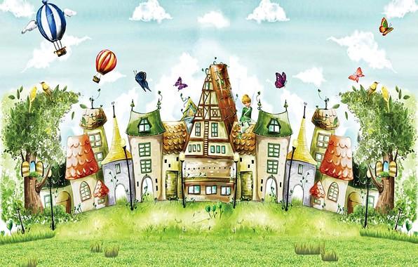 Картинка облака, деревья, бабочки, птицы, воздушные шары, рисунок, фея, арт, домики, сказочный город, летняя сказка