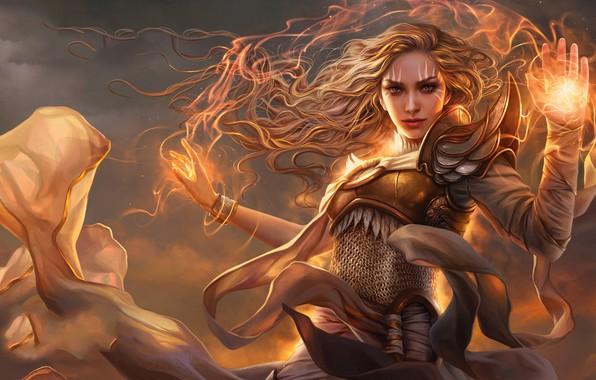 Картинка girl, fantasy, game, magic, redhead, digital art, artwork, fantasy art, Magic: The Gathering, fantasy girl