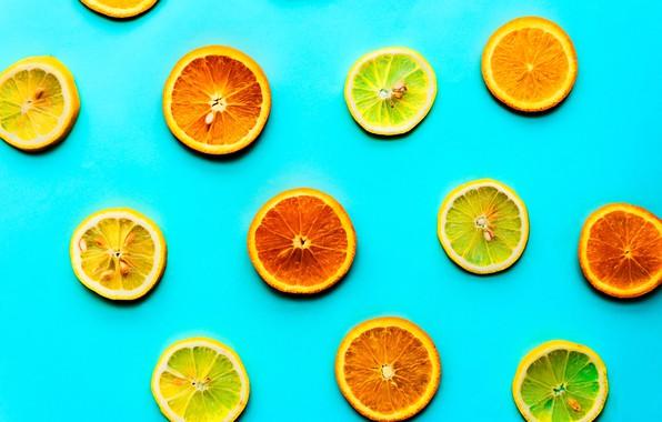 Картинка фон, лимон, апельсин