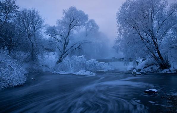 Картинка зима, иней, деревья, река, водопад, утро