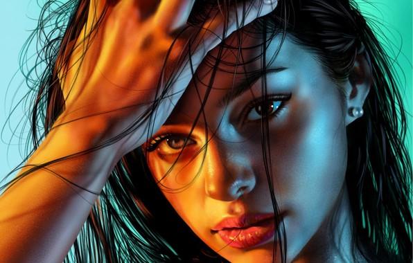 Картинка глаза, взгляд, девушка, лицо, фон, волосы, рука, портрет, арт