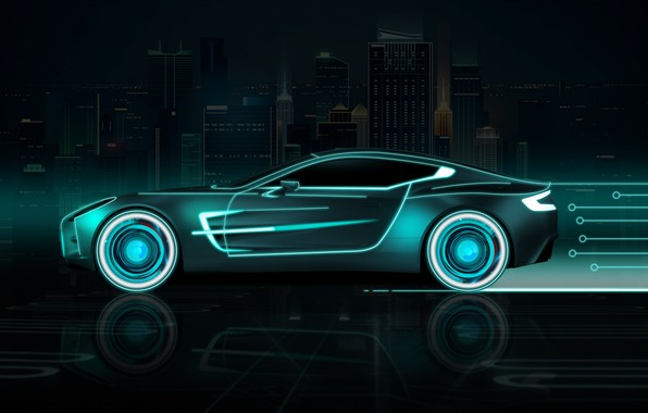 Картинка Авто, Город, Неон, Машина, Фон, Neon, Вид сбоку, Futuresynth, Outrun, Futuristic Car