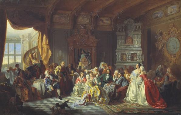 Картинка застолье, собачки, СТАНИСЛАВ ХЛЕБОВСКИЙ, Ассамблея при Петре I