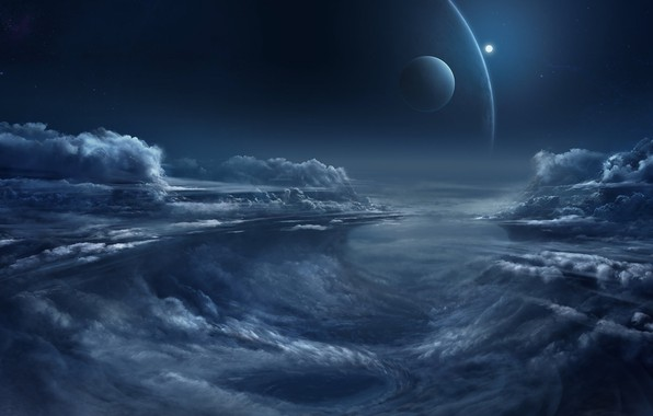 Картинка fantasy, sky, night, clouds, planets, artist, digital art, artwork, fantasy art, illustration, Chris Goff